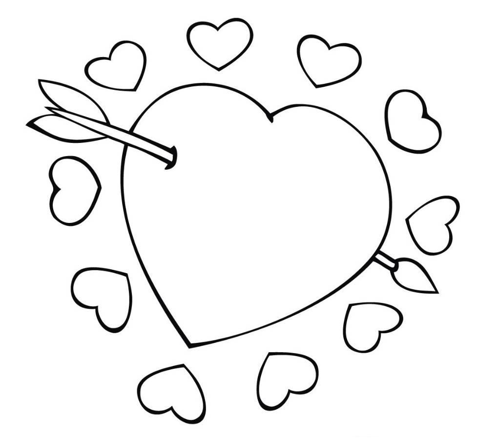 Картинки для раскраски сердечки